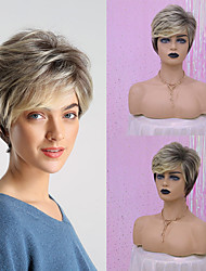 cheap -Synthetic Wig Straight Natural Wave Pixie Cut Layered Haircut Asymmetrical Wig Blonde Medium Length Light golden Synthetic Hair 12 inch Women's Fashionable Design Synthetic Highlighted / Balayage Hair