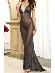 cheap -Women's Backless / Transparent Super Sexy Chemises & Gowns Nightwear Solid Colored Black S M L / Halter Neck / Deep V