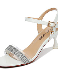 cheap -Women's Sandals Flared Heel Sparkling Glitter Synthetics Sweet / British Fall / Spring & Summer White
