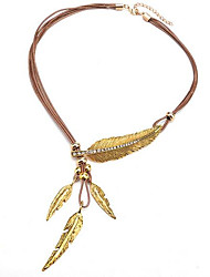 cheap -Women's Y Necklace Tassel Leaf Vintage Fashion PU Leather Zircon Chrome Gold Silver 56 cm Necklace Jewelry 1pc For Daily Street