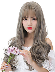 cheap -Synthetic Wig Curly Natural Wave Middle Part Wig Very Long Grey Synthetic Hair 26 inch Women's Synthetic Middle Part Sew in Ombre Hair Gray / African American Wig