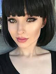 cheap -Human Hair Capless Wigs Human Hair kinky Straight / Natural Straight Bob / Short Hairstyles 2019 Life / Silky / Hot Sale Black / Natural Black Short Capless Wig Women's / Natural Hairline