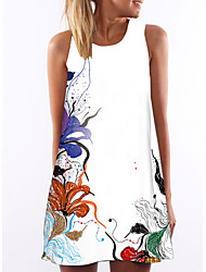 cheap -Women's A Line Dress - Sleeveless Floral Summer Elegant Floral White S M L XL XXL