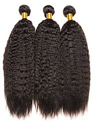cheap -3 Bundles Brazilian Hair Yaki Straight Unprocessed Human Hair Natural Color Hair Weaves / Hair Bulk Extension Bundle Hair 8-28 inch Natural Color Human Hair Weaves Soft Classic Lovely Human Hair