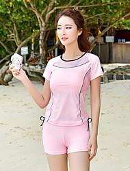 abordables -SEA BBOT Femme Maillot De Bain Rashguard Maillots de Bain Protection solaire UV Manches Courtes Plongée Mosaïque Eté