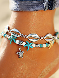 cheap -Women's Turquoise Ankle Bracelet feet jewelry Double Layered Turtle Starfish Shell Bohemian Trendy Anklet Jewelry Silver For Daily Holiday