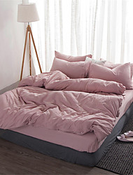 cheap -Duvet Cover Sets Solid Colored / Contemporary Polyster Yarn Dyed 4 PieceBedding Sets / 4pcs (1 Duvet Cover, 1 Flat Sheet, 2 Shams)