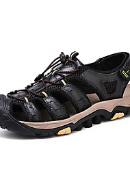 cheap -Men's Comfort Shoes Nappa Leather Spring & Summer Classic / Casual Sandals Non-slipping Black / Brown / Outdoor
