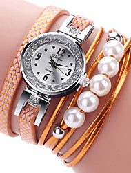 cheap -Women's Bracelet Watch Cubic Zirconia Pearl Casual Fashion Black White Blue PU Leather Chinese Quartz Orange Pink Light brown lace New Design Casual Watch 1 pc Analog One Year Battery Life