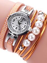 Недорогие -Жен. Часы-браслет Цирконий Жемчуг На каждый день Мода Черный Белый Синий Искусственная кожа Китайский Кварцевый Оранжевый Розовый Светло-коричневый Новый дизайн Повседневные часы 1 ед. Аналоговый