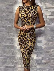 cheap -Women's Yellow Blue Dress Basic Bodycon Sheath Geometric S M Slim