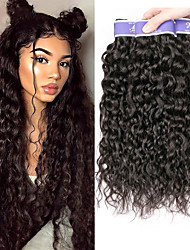 cheap -3 Bundles Brazilian Hair Water Wave Unprocessed Human Hair 100% Remy Hair Weave Bundles 300 g Headpiece Natural Color Hair Weaves / Hair Bulk Bundle Hair 8-28 inch Natural Human Hair Weaves Odor Free
