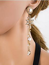 cheap -Women's Multicolor Cubic Zirconia Drop Earrings Chandelier European Pearl Silver Earrings Jewelry Gold For Daily 1 Pair