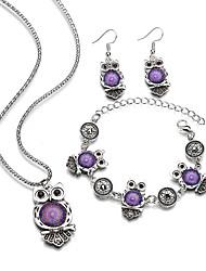 cheap -Women's Charm Bracelet Drop Earrings Pendant Necklace Retro Owl Classic Vintage European Earrings Jewelry Purple / Red / Blue For Party Holiday Festival 4pcs