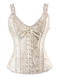 cheap -Corset Women's Plus Size Corsets Overbust Corset Tummy Control Push Up Jacquard Abstract Flower Lace Up Nylon POLY Christmas Halloween Wedding Party Birthday Party Fall Winter Spring Summer Red / RED