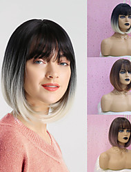 cheap -Synthetic Wig kinky Straight Natural Straight Bob Neat Bang Wig Ombre Medium Length Black / White Black / Purple Black / Brown Synthetic Hair 12 inch Women's Synthetic Hot Sale Ombre Hair Brown Ombre