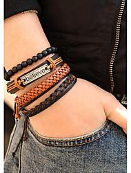 cheap -4pcs Men's Bead Bracelet Leather Bracelet Bracelet Layered Weave Believe Fashion Leather Bracelet Jewelry Black For Halloween Gift Carnival Street Club