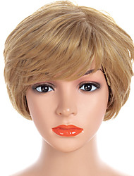 cheap -Synthetic Wig Bangs Natural Straight Side Part Wig Blonde Short Light golden Synthetic Hair 12 inch Women's Fashionable Design Women Synthetic Blonde