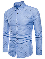 cheap -Men's Plus Size Polka Dot Shirt Basic Daily Holiday Going out Classic Collar Blushing Pink / Light Blue / Long Sleeve