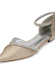 cheap -Women's Satin / Synthetics Spring & Summer Vintage / British Wedding Shoes Flat Heel Pointed Toe Rhinestone / Sparkling Glitter Dark Blue / Champagne / Ivory / Party & Evening