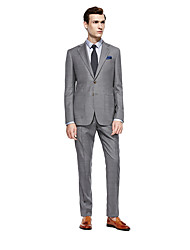 cheap -Gray Checkered Standard Fit Wool Suit - Notch Single Breasted Two-buttons