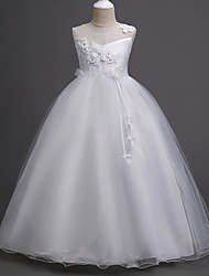 cheap -Princess Long Length Wedding / First Communion Satin / Tulle Sleeveless Jewel Neck with Belt / Appliques