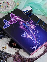 Недорогие -Кейс для Назначение Amazon Kindle Fire 7(5th Generation, 2015 Release) / Kindle Fire 7(7th Generation, 2017 Release) Кошелек / Бумажник для карт / со стендом Чехол Бабочка Твердый Кожа PU