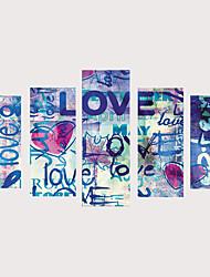 cheap -Print Rolled Canvas Prints Stretched Canvas Prints - Romance Cartoon Vintage Modern Five Panels Art Prints