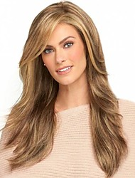 cheap -Synthetic Wig Bangs kinky Straight Side Part Wig Blonde Long Light golden Synthetic Hair 26 inch Women's Fashionable Design Smooth Women Blonde