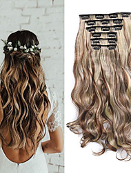 cheap -Laflare Synthetic Extentions Wavy Synthetic Hair Medium Length Hair Extension Clip In Clip In / On 1 Piece Women Extention New Arrival Women's Christmas Wedding Halloween