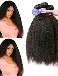 cheap -3 Bundles Peruvian Hair Yaki Straight Remy Human Hair Unprocessed Human Hair Natural Color Hair Weaves / Hair Bulk Extension Bundle Hair 8-28 inch Natural Human Hair Weaves Classic Easy dressing