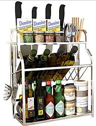 Недорогие -Высокое качество с Нержавеющая сталь Прозрачная складная стойка для хранения Повседневное использование Кухня Место хранения 2 pcs
