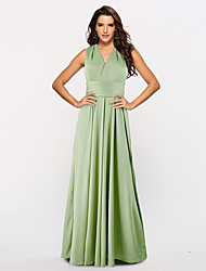 cheap -A-Line Convertible Green Holiday Prom Dress Halter Neck Sleeveless Floor Length Stretch Satin with Sash / Ribbon Pleats 2020