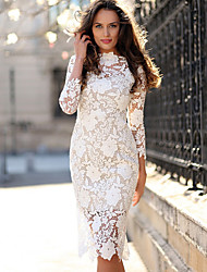cheap -Sheath / Column Elegant Vintage Inspired Holiday Homecoming Dress Jewel Neck 3/4 Length Sleeve Tea Length Lace with Lace Insert 2020