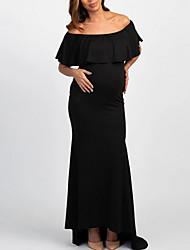 cheap -Women's Maternity Basic Maxi Sheath Dress - Solid Colored Black Blushing Pink Light Blue L XL XXL