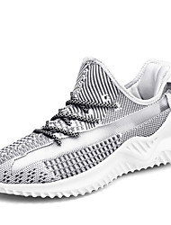 cheap -Men's Comfort Shoes Knit Fall / Spring & Summer Sporty / Preppy Athletic Shoes Running Shoes Breathable Color Block Black / White / Gray / Non-slipping / Shock Absorbing