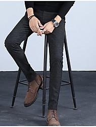 abordables -Homme Chic de Rue Grandes Tailles Costume Pantalon - Couleur Pleine Bleu Noir Gris 34 36 38