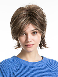 cheap -Human Hair Capless Wigs Human Hair Curly Pixie Cut / Layered Haircut / Asymmetrical / Short Hairstyles 2019 Halle Berry Hairstyles Gift / Adjustable / Heat Resistant Multi-color / Brown Short Capless