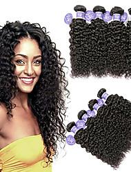 cheap -4 Bundles Malaysian Hair Kinky Curly Unprocessed Human Hair 100% Remy Hair Weave Bundles Headpiece Natural Color Hair Weaves / Hair Bulk Bundle Hair 8-28 inch Natural Color Human Hair Weaves Odor