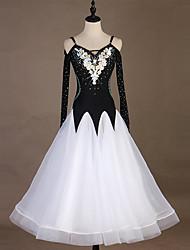 cheap -Ballroom Dance Dresses Women's Performance Spandex / Organza Embroidery / Split Joint / Crystals / Rhinestones Long Sleeve Dress