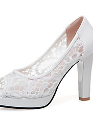 cheap -Women's Lace / PU(Polyurethane) Spring & Summer Wedding Shoes Chunky Heel Peep Toe White / Black / Pink / Party & Evening