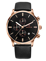 cheap -SKONE Men's Sport Watch Japanese Quartz Fashion Water Resistant / Waterproof Calendar / date / day Chronograph Analog Golden+White Rose Gold White / Two Years / Stainless Steel / Leather / Stopwatch