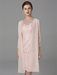 cheap -Two Piece Sheath / Column Mother of the Bride Dress Sparkle & Shine Jewel Neck Knee Length Chiffon Lace 3/4 Length Sleeve with Beading Appliques 2020