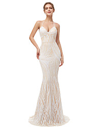 cheap -Mermaid / Trumpet Halter Neck Sweep / Brush Train Sequined Sparkle & Shine / Open Back Formal Evening Dress with Sequin 2020