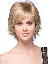 cheap -Synthetic Wig Bangs Curly Free Part Wig Blonde Short Light golden Synthetic Hair 12 inch Women's Fashionable Design Women Synthetic Blonde