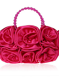 cheap -Women's Girls' Bags Silk Top Handle Bag Beading Flower Handbags Wedding Event / Party Red Fuchsia
