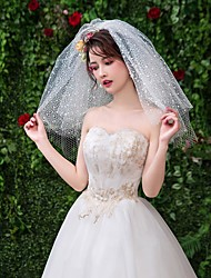 cheap -Four-tier Classic & Timeless Wedding Veil Shoulder Veils with Trim Tulle / Angel cut / Waterfall