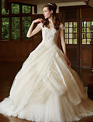 cheap -Ball Gown Sweetheart Neckline Court Train Lace / Tulle Cap Sleeve Sparkle & Shine Made-To-Measure Wedding Dresses with Appliques 2020