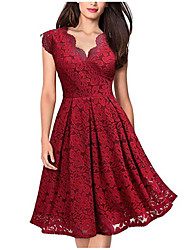 cheap -Women's Basic Elegant A Line Dress - Solid Colored Lace Black Red Purple M L XL