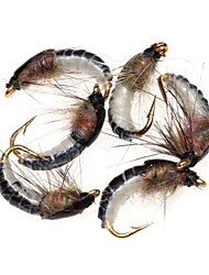 cheap -6 pcs Flies Fishing Lures Flies Worm Feathers Carbon Steel Mixed Material Sinking Sea Fishing Fly Fishing Bait Casting